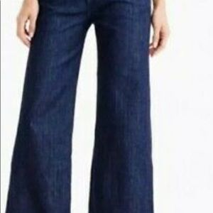 J.Crew Rayner wide leg, crop, dark wash jeans.